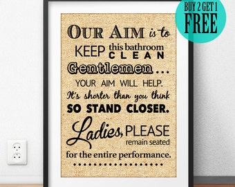 Our Aim Is To Keep This Clean Burlap Print, Rustic Home Decor, Bathroom Decor, Bathroom Wall Art Print, Unique Gift, Housewarming Gift -SD23