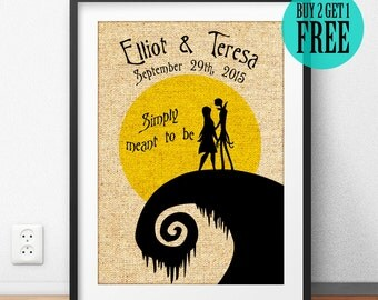Nightmare Before Christmas, Jack & Sally, Burlap Print, Anniversary Gifts, Wedding Decor, Home Decor, Wall Art, Simply Meant To Be, CM95