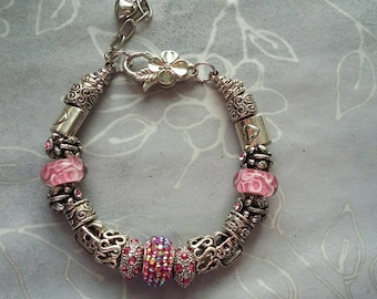 sparkly pink beaded charm bracelet