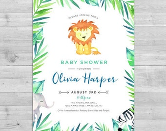 Safari Baby Shower Invitation, Jungle Baby Shower Invitation, Lion Baby Shower Invitation, Safari Gender Neutral Baby Shower Invitations