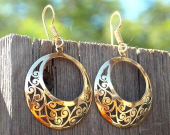 gold plated lace earrings - boho earrings - ethnic earrings - gypsy earrings - bohemian jewelry - Filigree Earrings - Gold circle Earrings