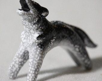 Siberian Husky - Handmade Miniature Polymer Clay Animal Figurine Totem