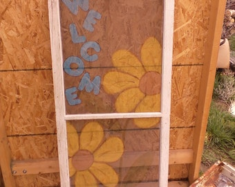Hand painted vintage window screen