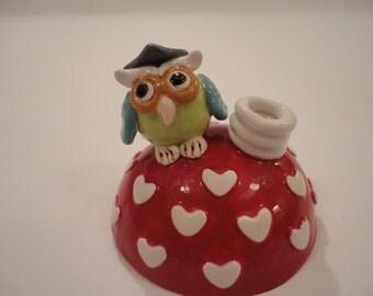 Ceramic pen holder - owl ceramic pen holder - graduate gift - home decor