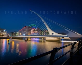 The Samuel Beckett Bridge at Night Dublin. Photographs of Ireland. Wall decor. Fine art Print. Cityscape Ireland