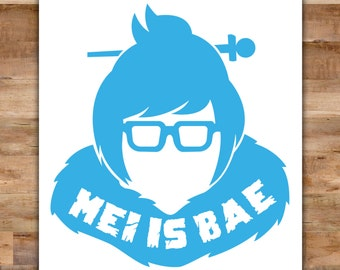Mei Overwatch Decal - Funny Overwatch Mei Bumper Sticker Mei Is Bae Laptop Decal - Video Game Decals Geek Decals Video Game Decor