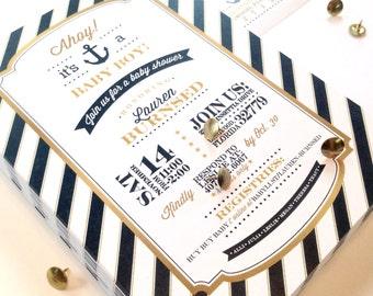 CUSTOMIZABLE Nautical shower invitations