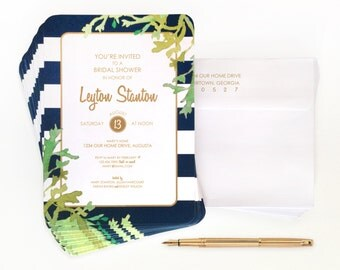 NAVY STRIPES + LEAVES watercolor shower / luncheon invitations