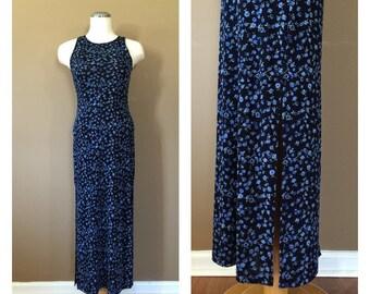 90s Maxi Dress / Vintage 90s Dress/ Vintage Floral Dress / Grunge Dress / Floral Summer Dress / 90s Clothing / 90s floral dress