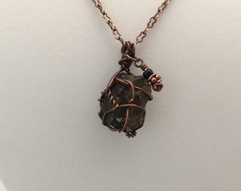 Smokey Quartz Wire Wrapped Pendant on Copper Chain
