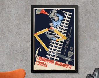Symphony Of A Great City Vintage Russian Construcitivism Movie Poster Print