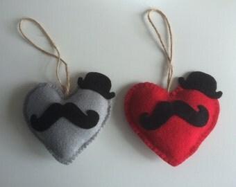 Handmade Felt Moustache Heart Hanging Decoration/Great Gift Idea