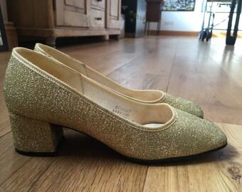 Manfield Vintage 1960s Block Heel Gold Metallic Shoes 5 38