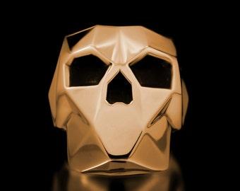 Faceted Skull Ring Brass Geometrical Shapes Skulls