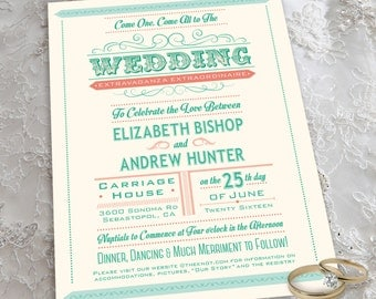 Carnival Theme Wedding Invitation Set with Invitation and RSVP Postcard