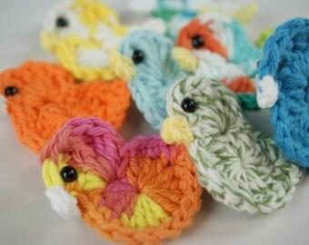 2 piece - Crocheted Bird Appliques/Embellishments