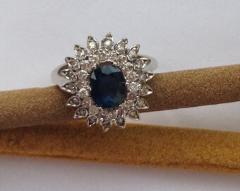Handmade Gold Ring Diamonds and Sapphires Ring
