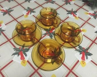 Arcoroc France - Amber Cup & Saucer Set - Vintage Original