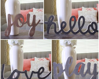 Wood Typography Cursive Cutout Staines Sign Wall Home Decor