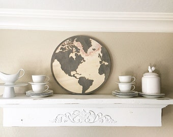 Wood Stained Round Map of the World Engraved