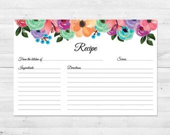 Recipe Cards, Bridal Shower, Printable, Floral, Recipe Card, Wedding, Bridal Shower Recipe Cards