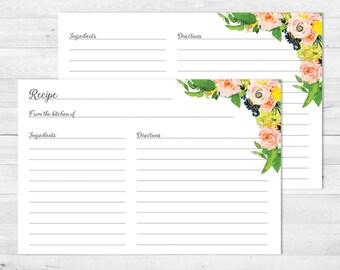 Bridal Shower Recipe Cards, Bridal Shower, Printable, Floral, Recipe Card, Wedding