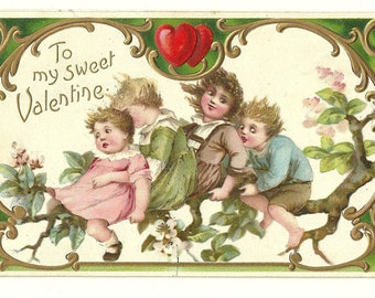 1909 Valentine GREETING Postcard Embossed, Frances Brundage Nervous Children on a tree!