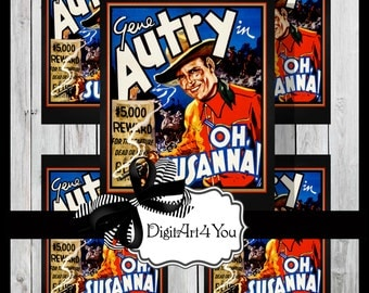 Digital collage/Country/Country Western/Western/Gene Autrey/Oh Susanna/Unusual/Digital Download/Vintage Art/Supplies/Inchies/Dominoes