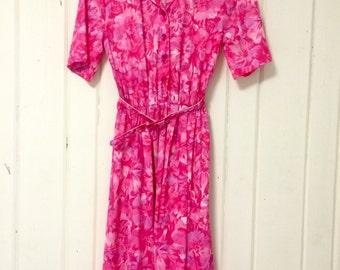 Pink floral vintage spring dress