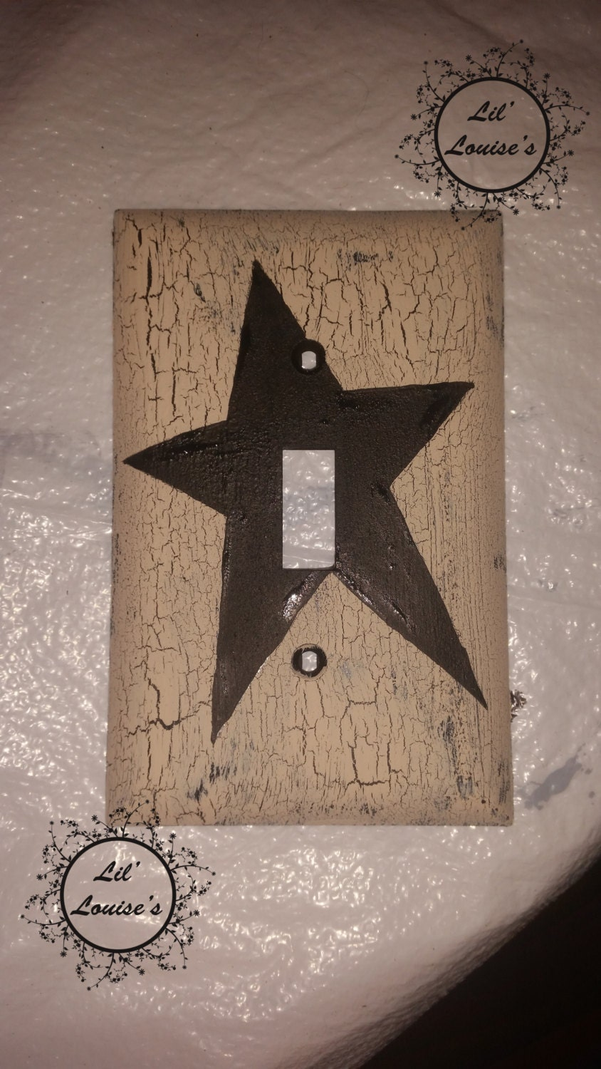 Primitive STAR Light Switch Plate Cover Black  Ivory Country Rustic Western  Wall Decor Handpainted