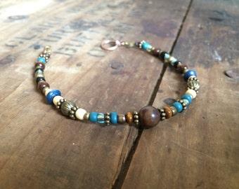 Tribal Lagoon- Beaded Bracelet, Beaded Leather Bracelet, Bohemian Bracelet