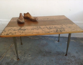 Reclaimed Wood Coffee Table // Industrial Style // Salvaged Wood Top