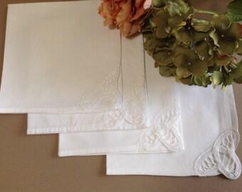 "Set of 4 Vintage  square  15"" x 15""  (38cm x 38cm) White cotton Table Napkins with Battenburg Lace Embroidery"