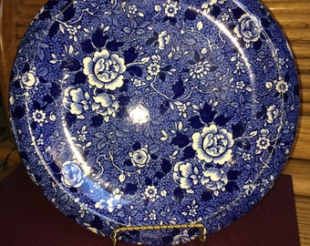 REDUCED - Plate.charger.english china. blue and white flowers. English.Vintage.
