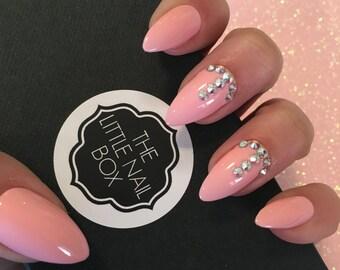 Hand painted pink Swarovski stiletto press on nails | stick on nails | glue on nails | false nails | fake nails