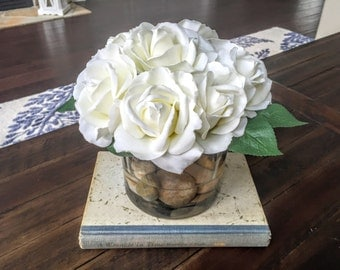 Silk Floral Arrangement: Wedding Decor, White Real Touch Roses, Rose Centerpiece with faux water