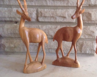 Hand Carved Wooden Antelopes Africa Pair