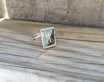 Monogram Engraved Sterling Silver Ring - Mother's Day Gift