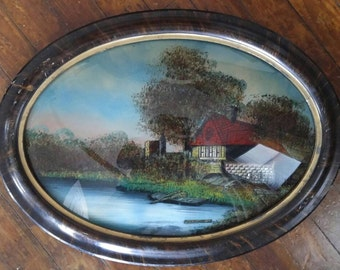 Vintage antique reverse painted oval convex glass foil accents The Old Homestead scene 23 inches x 27 inches faux tigerwood