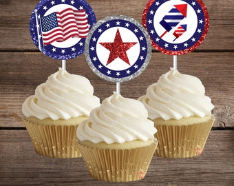 4th of July Cupcake Toppers, Printable 4th of July Party Decoration, Instant Download, ready to print, 4th of July Paper, Fourth of July