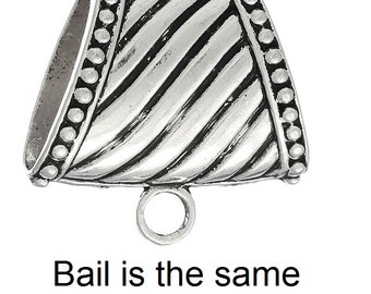 Antique Silver Scarf Bail, 1 1/2 inches by 1 1/2 inches (1219C)