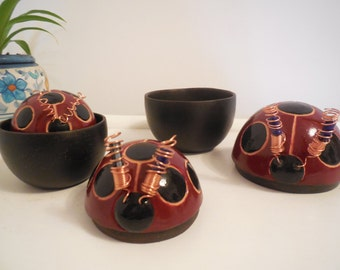 Ceramic jewelry box, ladybug, ladybug matrioska terracotta jewelry box