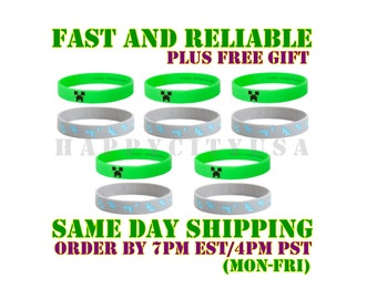 25 Minecraft Bracelets Creeper Diamond Mixed Birthday Bracelet Party Minecraft Bracelets