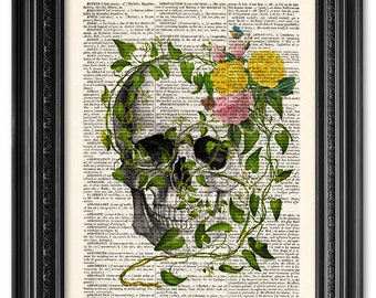 Flower skull, Skull art, Dictionary art print, Vintage book art print, upcycled dictionary page, Home Wall Decor, Gift poster  [ART 092]