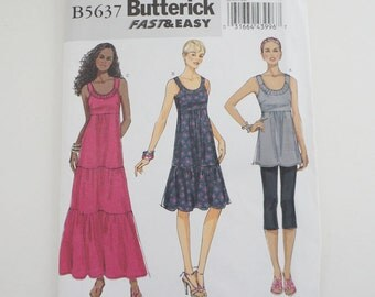 Uncut Butterick B5637 Womens Tunic And Dress Paper Sewing Pattern Size L, Xl, XXl