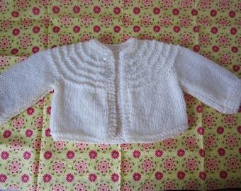 Baby Shrug, Easter Baby Shrug, Baby shower Gift, Girls Baby Sweater, 3 Month Baby Shrug, White Baby Shrug, Knit Shrug