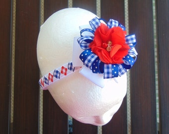 4th of July Woven Headband with Detachable Bow (Gingham)