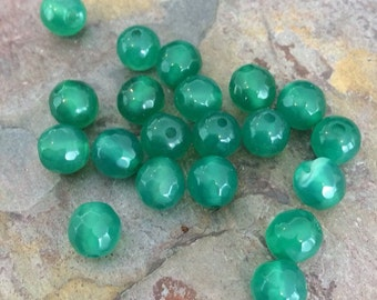 Strand of Faceted Agate, Emerald Green, 6mm