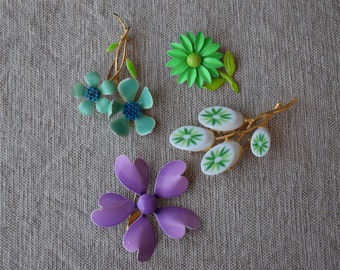 Vintage Set Of Floral Brooches, 1970s Floral Brooches