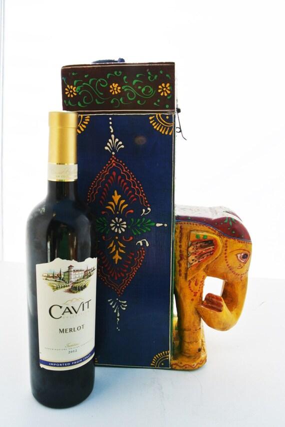 Hand painted wooden elephant box wine bottle holder - Elephant wine bottle holder ...